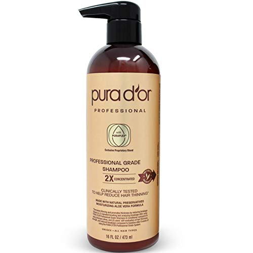 PURA D'OR Professional Grade Shampoo Anti-Hair Thinning 2X Concentrated Actives for Maximum Results, with Natural Ingredients, Clinically Tested, Sulfate Free, Men & Women, 16 Fl Oz