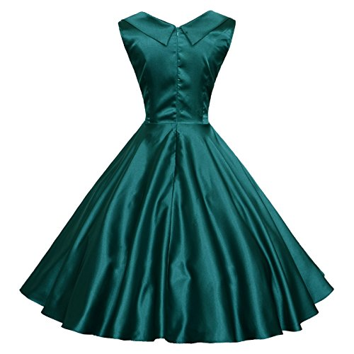 1950 Robe De Jardin Floral Vintage Vert Profond Maggie Femmes Tang
