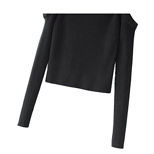 Shirt Chandail Collant Veste Aivei Uni Slim Noir Bretelle Pull Top Printemps Sexy Femme Tricot T de en LAEMILIA Moulant Manches Longues 5FqnTp7x