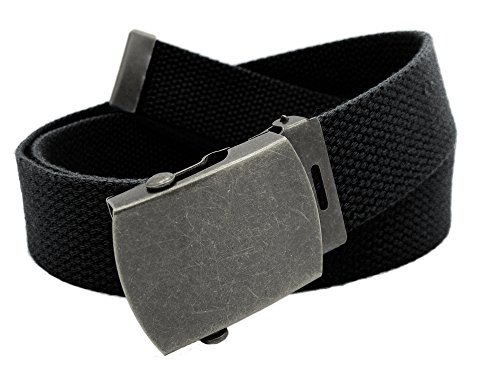 Boy's School Uniform Antique Silver Slider Military Belt Buckle with Canvas Web Belt Large Black