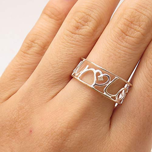 Signed 925 Sterling Silver Real Diamond Amour Love Openwork Ring Size 9 Jewelry by Wholesale Charms