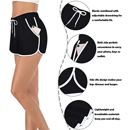 BiuBuy Womens Cozy Banded Waist Running Fitness Workout Shorts with Pockets Black