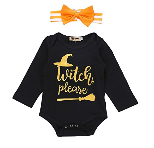 YOUNGER TREE Infant Baby Girl Boy Halloween Outfit Witches Please Print Long Sleeve Halloween Romper with Bowknot Headband (Black, 3-6 Months)]()
