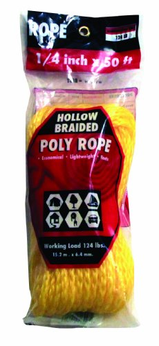 Rope King HBP-1450Y Hollow Braided Poly Rope - Yellow - 1/4 inch x 50 (Hollow Braided Poly Rope)