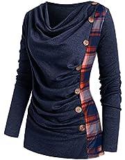 Briskorry Dames geruite tuniek tops plaid lange mouwen shirts knoopsluiting casual pullover blouse hemd effen bovendeel elegant longshirt lange mouwen shirts elegant sweatshirt