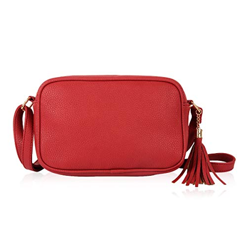 Classic Rectangle Vegan Leather Small Purse Handbag - Structured Camera Messenger Bag Shoulder Crossbody Strap & Tassel Charm (Red)