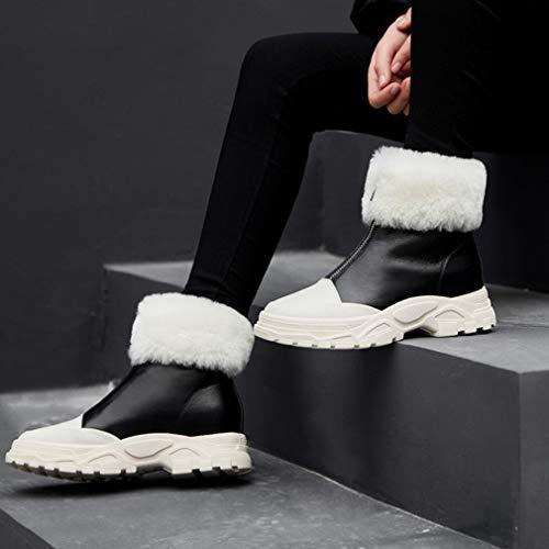 Aire Informales Antideslizantes Negro Nieve Tacón Botas Leathe Al Plano Chelsea Invierno Para Libre Zapatos Zapatillas Yan Cálidas Tobillo Mujer De Calzados HBxZf