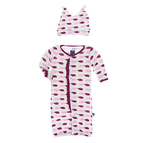 Baby Pattern Crochet Bonnet - KicKee Pants Print Ruffle Layette Gown Converter and Knot Hat Set, Little Girls - Natural Pig, 3-6 Months
