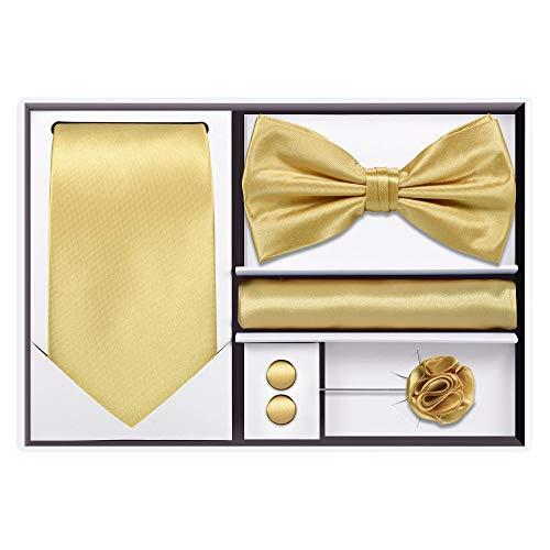 5pcs Tie set (Gold/Beige) (Gold Bow Tie)