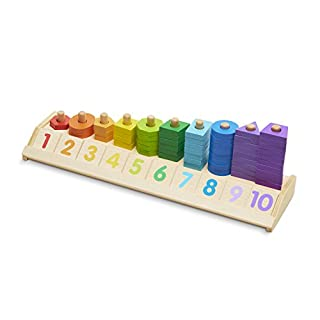 Melissa & Doug 19275 Counting Shape Stacker - Wooden Educational Toy with 55 Shapes and 10 Number Tiles, Multicolor