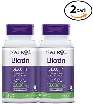 Biotin Beauty Tablets, Promotes Healthy Hair, Skin and Nails, Helps Support Energy Metabolism, Helps Convert Food Into Energy, Maximum Strength, 10,000mcg, 100 Count (Pack of 2) 2-Pack