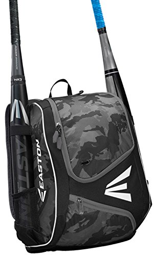 EASTON E110YBP Youth Bat & Equipment Backpack Bag | Baseball Softball | 2019 | Black | 2 Bat Sleeves | Smart Gear Storage | Valuables Pocket | Rubberized Zipper Pulls | Fence Hook