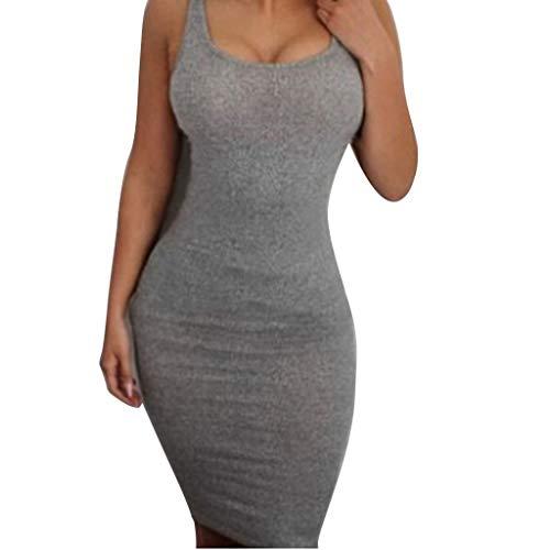 Skater Dresses For Women Sleeveless Pure Color Tight Fitting Pencil Skirt (gray,S) ()