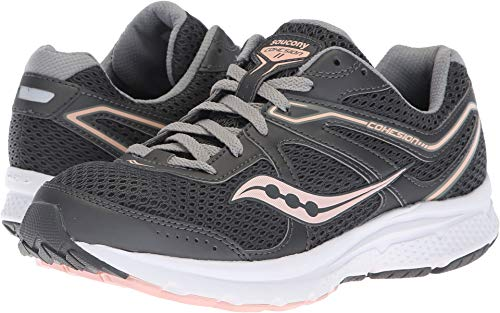 Saucony Women's Grid Cohesion 11 Charcoal/Peach 9 D US by Saucony