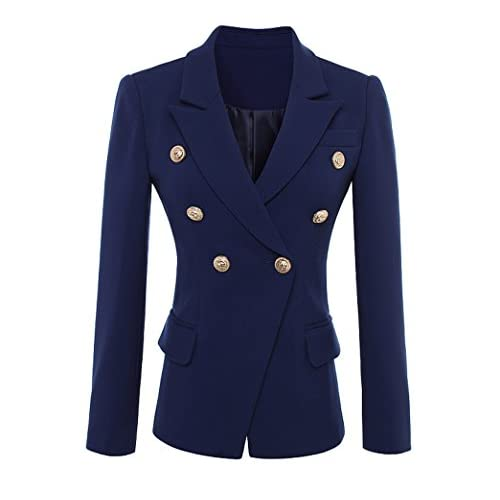 2018 Designer Blazer Jacket Women S Gold Buttons Double Breasted