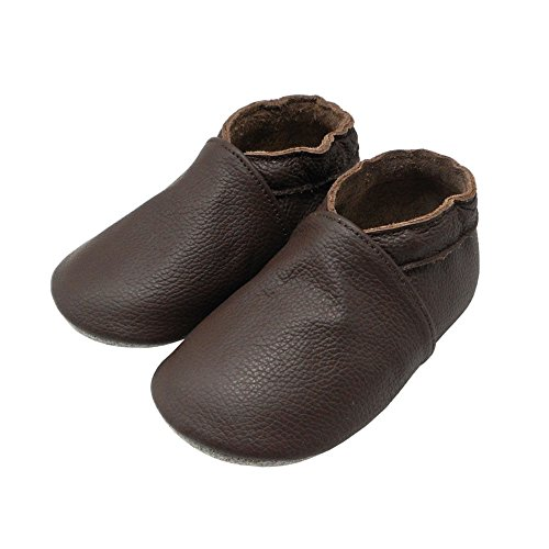 Yalion Baby Boys Girls Shoes Crawling Slipper Toddler Infant Soft Leather First Walking Moccs(Dark Brown,6-12 Months) - Image 3
