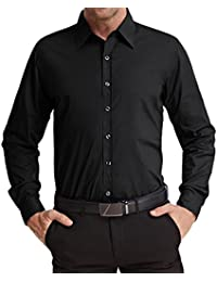 Men's Stylish Solid Long Sleeve Button Down Dress Shirt Office Shirt