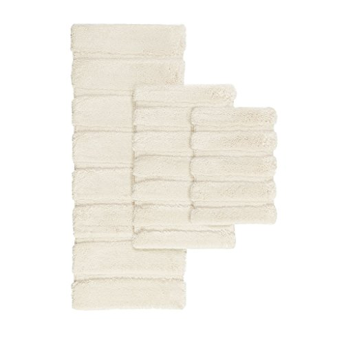 Rug Floor Mat Tufted (JLA Home INC Tufted Pearl Channel Washable Bath Mat, Casual Solid Mildew Resistant Shower Mat, 17