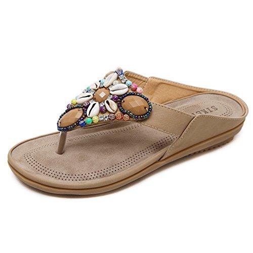NVXIE Beauty Leader Chancletas Mujeres Temporada de Verano con Cuentas Tamaño Grande Cool Zapatillas Pellizcar Masaje Plano con Zapatos de Playa 1