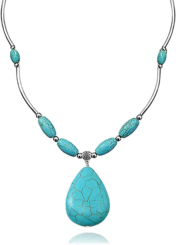 Teardrop blue turquoise necklace turquoise jewelry boho tribal wife gifts for mom gifts for girlfriend gifts for nana gifts for women sister