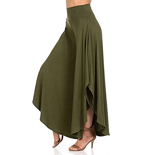 QueenMMWomen's High Waist Layered Flowy Casual Yoga Pants Solid Wide Leg Loose Pants Palazzo Pants Green