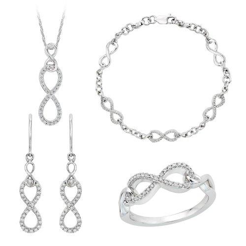 KATARINA Infinity Diamond Jewelry Set in 10K White Gold (3/4 cttw)
