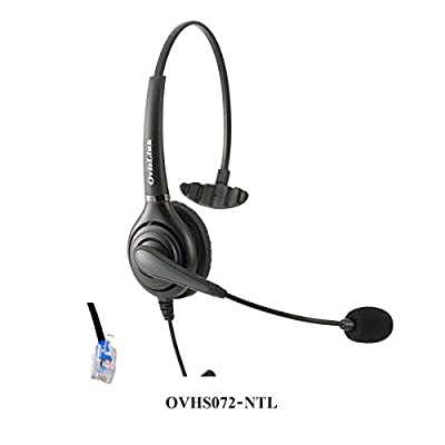 OvisLink corded Nortel headset, Noise Cancelling Microphone headset compatible with all NEC phones included Meridian NorStar Business Phone, RJ9 headset Quick Disconnect cord included, 2 Yrs Warranty