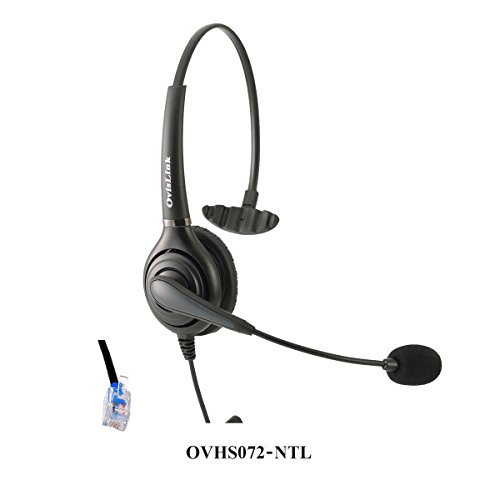 OvisLink corded Nortel headset, Noise Cancelling Microphone headset compatible with all NEC phones included Meridian NorStar Business Phone, RJ9 headset Quick Disconnect cord included, 2 Yrs Warranty by Ovislink