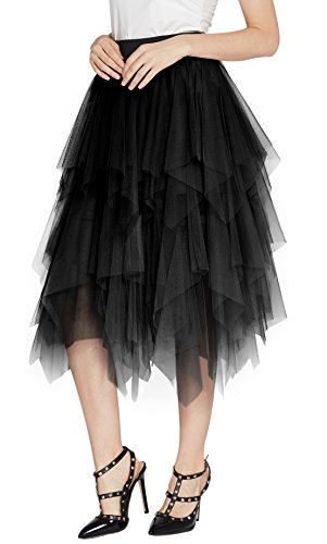 (Urban CoCo Women's Sheer Tutu Skirt Tulle Mesh Layered Midi Skirt (L, Black))