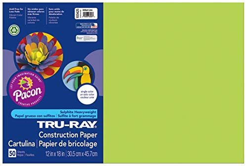 Pacon Tru-Ray Construction Paper, 12-Inches by 18-Inches, 50-Count, Brilliant Lime (103425)