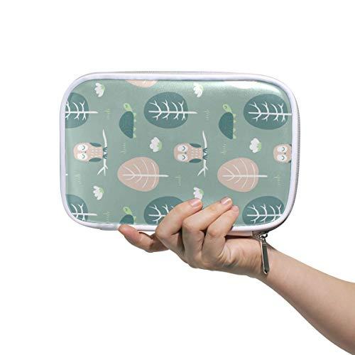 Owl Turtle Malachite Green Multi-function pen bag Pencil Stationery Pouch Bag Case, Pastoral,Zipper Pouch