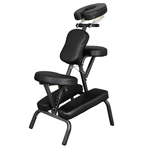 Portable Light Weight Massage Chair Folding Tattoo Spa Travel Massage Chair W/Carrying Bag PU Leather Pad, Adjustable Headrest (Black)