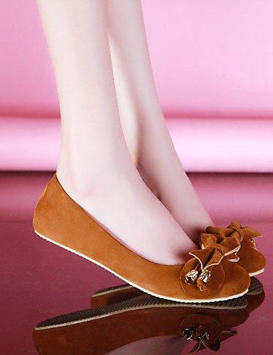 zapatos brown Outdoor 5 verde eu36 rojo 5 marrón vestido de de mujer Beige talón casual punta redonda us5 cn35 Flats uk3 plano PDX az5UwqW