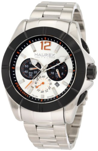 Haurex Italy Men's 0D366USN Aston Chronograph Black PVD Bezel Steel Bracelet Sport Watch - Steel Stainless Aston Watch