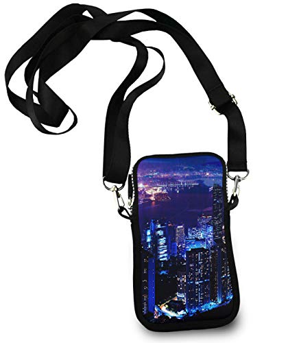 Cover Carbon Tank Fiber Works - Cell Phone Golf Multipurpose USA Chicago Skyline Night View Holder - For 6 Inch Cell Phones with Adjustable Shoulder Strap, Totebag Wristlet Convertible Cross Body Bag