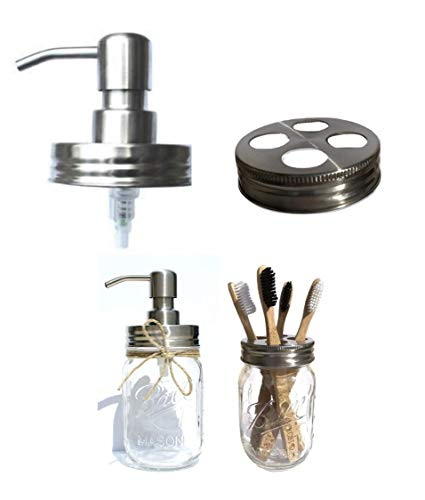 The Southern Jarring Co. Bathroom Accessories Lid Set - Includes Mason Jar Hand Soap Dispenser Lid and Toothbrush Holder Lid - Modern Farmhouse Bathroom Decor (Brushed Stainless ()