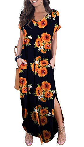 GRECERELLE Women's Casual Loose Long Dress Short Sleeve Floral Print Maxi Dresses with Pockets Sun ()