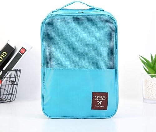 トラべラブ圧縮バッグ トラベルセット男性と女性ビジネストラベルポータブルウォッシュソーティングバッグ用品シューズ収納バッグ トラベルポーチ 出張 旅行 便利グッズ (Color : Blue, Size : Free size)