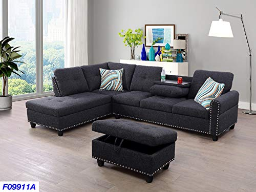 Beverly Fine Funiture F09911A-3PC Sectional Sofa Set with Drop Down Table, Charcoal Grey