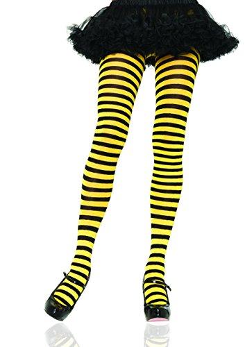 Leg Avenue Women's Nylon Striped Tights, Black/Yellow, One Size -