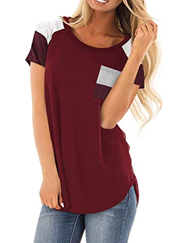 Adibosy Women's Tops Short Sleeve Color Block Tshirts Summer Round Neck Tunics Blouses Comfy with Pocket Wine Red XL