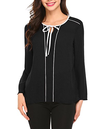 Soteer Women's Keyhole Long Sleeve Shirts Loose Fit Chiffon Blouse Elegant Tops For Work
