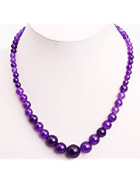 GEM-inside Necklace Pendant Graduated Gemstone Amethyst Beads Strand Fashion Jewellry