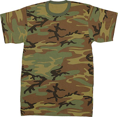 - Army Universe Woodland Camouflage Short Sleeve T-Shirt Pin - Size Small (33