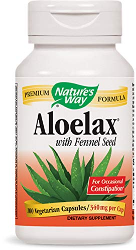 Natures Way AloeLax, 340 milligrams, 100 Vegatarian Capsules. Pack of 9 Bottles Pack 9