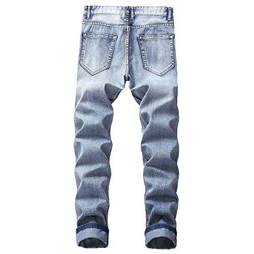 Color Denim F Jeans Stretch pantaloni Sportivi Skinny Strappati Pantaloni Da Fit light Elasticizzati Liuchehd Blue Uomo Regular WHTqXHC