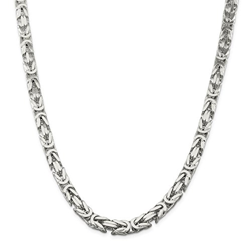 925 Sterling Silver 8.2mm Polished Square Byzantine Chain Necklace 20'' by Venture Jewelers