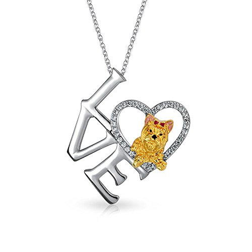 Bling Jewelry CZ Heart Yorkie Love Pendant Rhodium Gold Plated Necklace 18 Inches