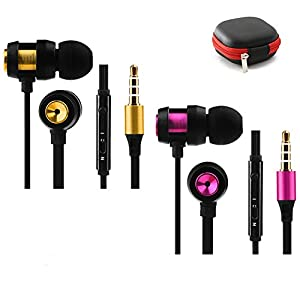Earbuds with Microphone 2 Pack in Ear Headphones Earphones Stereo Extra Bass Wired 3.5mm in Line Remote Control Noise Isolating with Zipper Case for Apple iphone Samsung(Volume Control,Black)