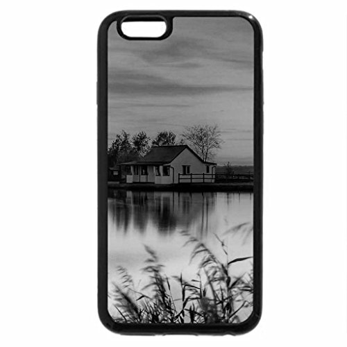 iPhone 6S Case, iPhone 6 Case (Black & White) - Mill and river cottage at sunset